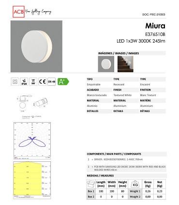 Ficha técnica focos empotrables de pared Miura - ACB