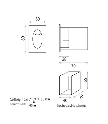 Dimensiones focos empotrables de pared  Edgar - ACB
