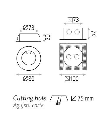 Dimensiones: Foco empotrable de pared REGAL 3W - ACB