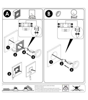 Manual de instalación Foco empotrable de pared REGAL 3W - ACB