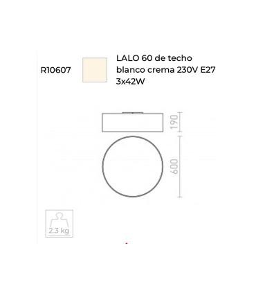 Dimensiones Plafón de techo con pantalla beige LALO  Ø60cm 3E27 Rendl