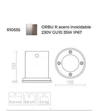 Foco empotrable suelo ORBU R acero GU10 IP67 - Rendl
