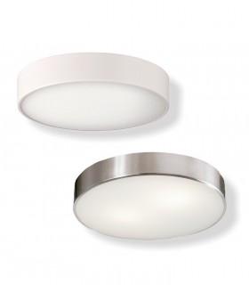 Plafón DINS 2 bombillas E27 en blanco o níquel Ø26cm - ACB