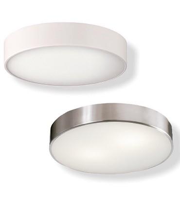 Plafón DINS 2 bombillas E27 en blanco o níquel Ø32cm - ACB
