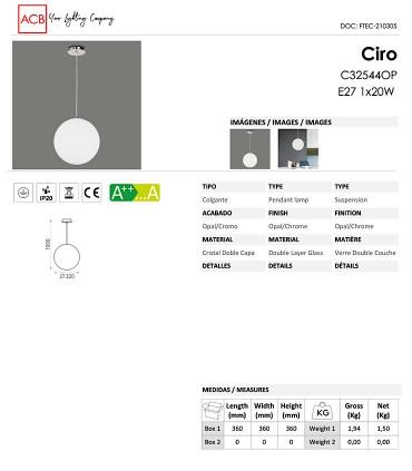 Ficha técnica Lámpara Ciro E27 globo cristal Ø32 - ACB