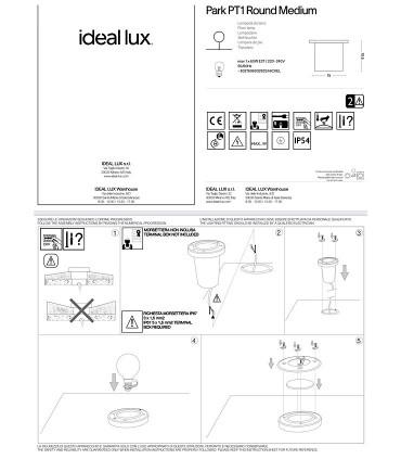 Montaje Foco empotrable suelo PARK PT1 acero GU10 IP54 - IDEAL LUX