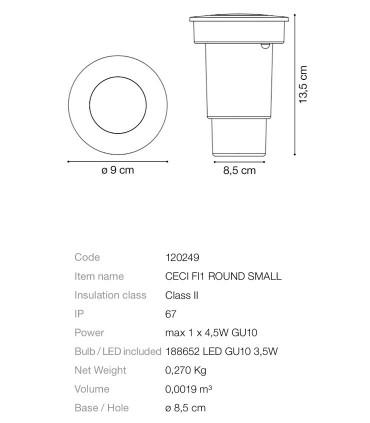 Detalles técnicos Foco empotrable Ceci GU10 IP54 - IDEAL LUX