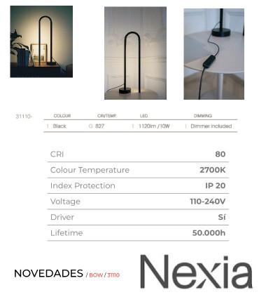 Características Lámpara de mesa BOW negro 60cm - NEXIA