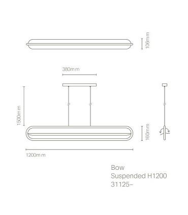 Dimensiones Lámpara de techo BOW negro 120cm - NEXIA