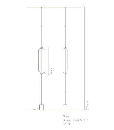 Dimensiones Lámpara suspensión vertical BOW negro - NEXIA