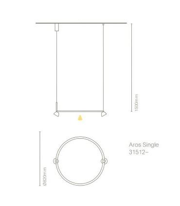 Dimensiones lámpara AROS Single - NEXIA