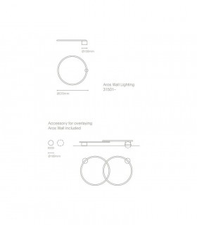 Dimensiones Aplique de pared AROS negro Ø57cm - NEXIA