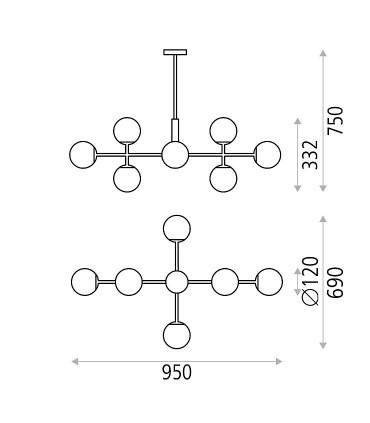 Dimensiones lámpara Doris 8 luces oro - ACB
