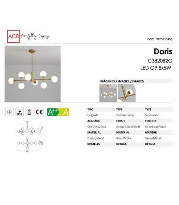 Características Lámpara colgante DORIS 8L G9 oro viejo - ACB