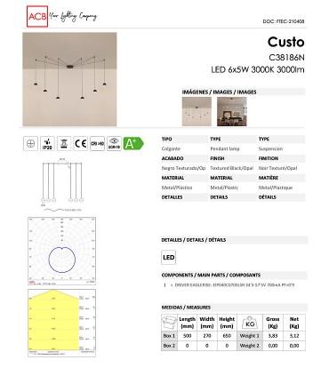Características Lámpara Colgante CUSTO 6 LED negro - ACB