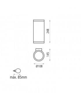 Dimensiones Aplique de pared NORI antracita 2E27 IP65 - ACB