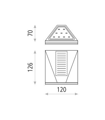 Dimensiones Aplique solar Vulcan ACB