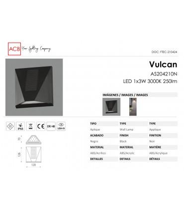 Características Aplique solar Vulcan ACB