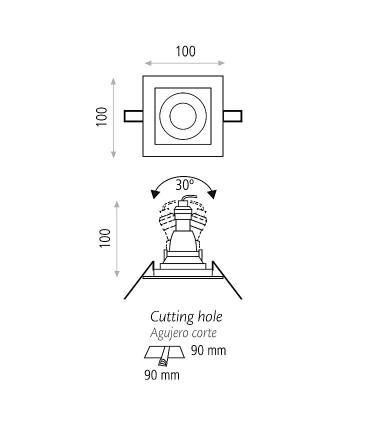 Dimensiones Aro empotrable SAN 1 GU10 - ACB