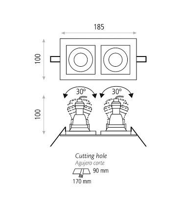 Dimensiones aro rectangular doble SAN 2L - ACB