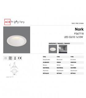 Características Aro empotrable NORK GU10 Blanco IP64 - ACB