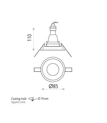 Dimensiones Aro empotrable NORK GU10 Blanco IP64 - ACB