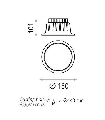 Dimensiones Foco empotrable KIKA LED 15W 4000K Blanco IP43 - ACB