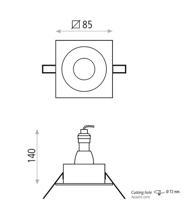 Dimensiones Aro empotrable cuadrado VELT GU10 Blanco IP64 - ACB