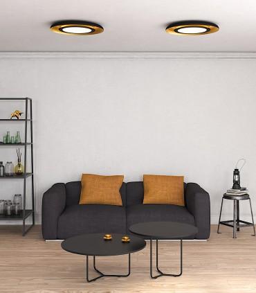 Imagen de ambiente con plafones LED SHIITAKE 3000K negro-oro - ACB