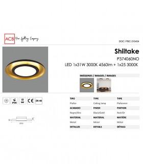 Características Plafón LED SHIITAKE 3000K negro-oro - ACB