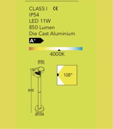 Baliza exterior Orientable led 11w gris oscuro 85cm. Especificaciones