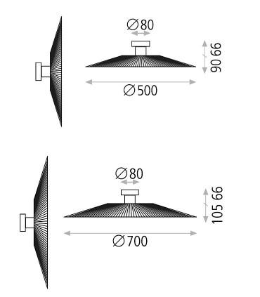 Dimensiones Apliques PAMELA negro - ACB