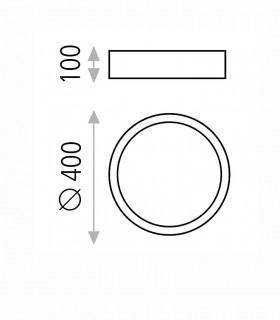 Dimensiones ISIA plafón de techo LED negro Ø40cm - ACB