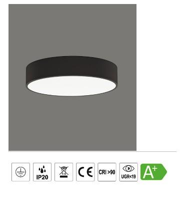 Características ISIA plafón de techo LED negro Ø40cm - ACB