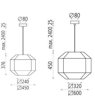 Dimensiones Lámparas de pantalla BAUHAUS  Ø45, Ø60cm - ACB
