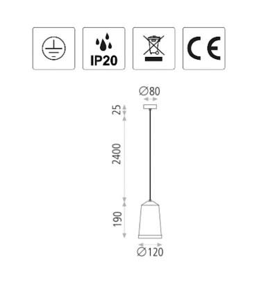 Dimensiones de las  lámparas colgantes Bali de ACB