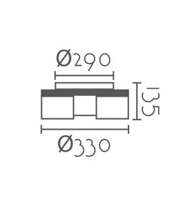 Dimensiones Plafón nórdico ND6 metal blanco-madera Ø33cm 3L E27