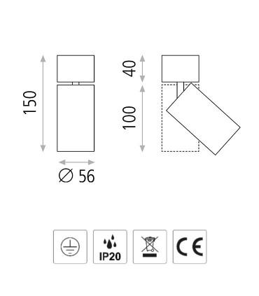 Dimensiones Foco superficie ZOOM GU10 orientable Ø56mm - ACB