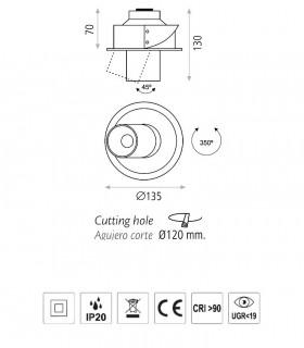 Dimensiones Foco empotrable LED BARDO 10W 3000K - ACB