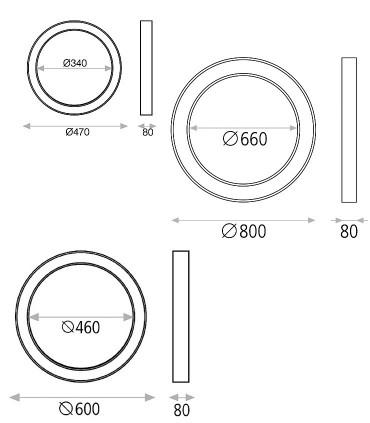 Dimensiones ALISO plafón de techo LED blanco Ø47, Ø60, Ø80cm - ACB
