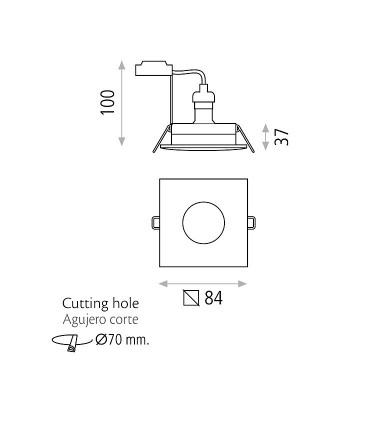 Dimensiones Aro empotrable FOTSY GU10 Cromo, níquel IP54 - ACB
