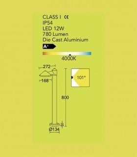 Baliza exterior led 12w gris oscuro 80cm 780lm, especificaciones