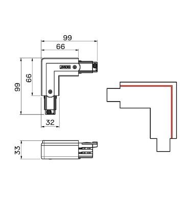 Dimensiones Conexión alimentador L polaridad externa blanca o negra - Mantra