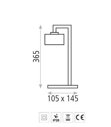 Dimensiones Lámpara de mesa XOLA cromo o cuero E14 - ACB