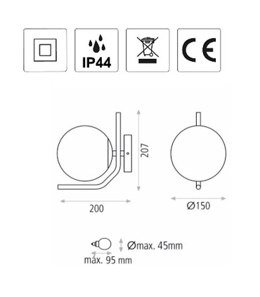Dimensiones Aplique MAUI negro E27 LED - ACB