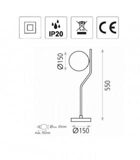 Dimensiones Lámpara de mesa MAUI negro E27 LED - ACB