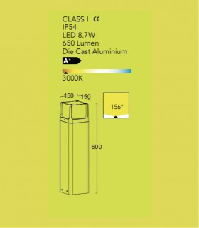 Baliza exterior led 8.7w gris oscuro 60cm 650lm, especificaciones