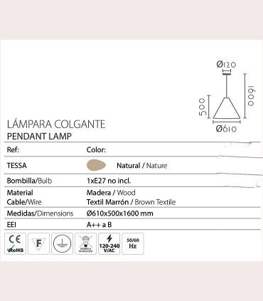 Características Lámpara de techo madera TESSA Ø61CM