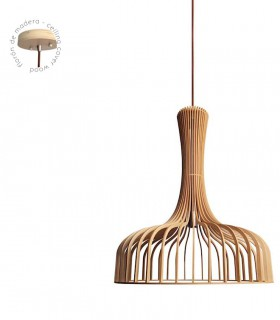 Detalle florón de madera lámpara Azahar Ø61cm
