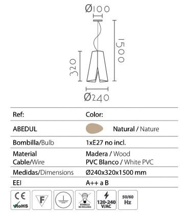 Características lámpara Abedul